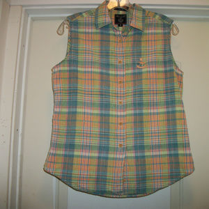 PREPPY FRENCH PLAID SLEEVELSS TOP, FALCONNABLE, M
